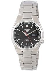 Seiko Mens SNK607 Seiko 5 Automatic Black Dial Stainless-Steel Bracelet Watch