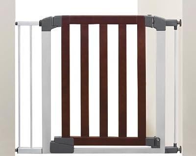 Munchkin Auto Close Designer Baby Gate, Dark Wood/Silver