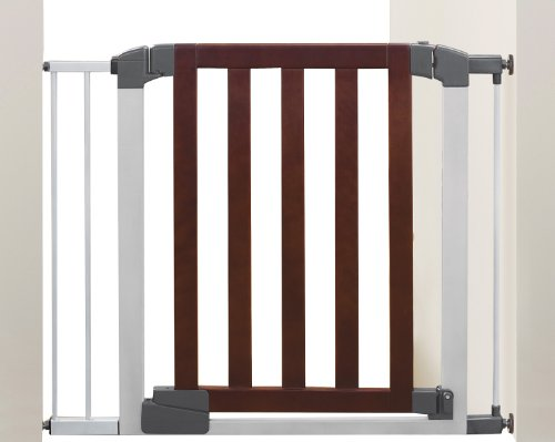 Munchkin Auto Close Designer Baby Gate Dark Wood Silver 11street