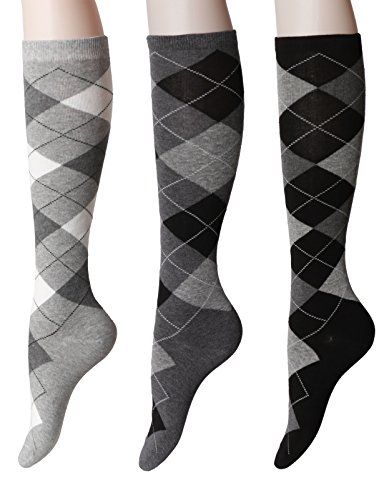 OSABASA Womens Argyle Pattern Knee High Socks 3Pairs 1 Set Pack with Multi Colors SET1 Asia M (KWMS073) Argyle Knee High Socks