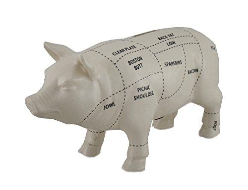 Zeckos White Ceramic Pig Shaped Coin Bank Butcher Chart P...