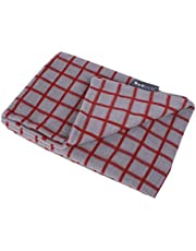 Petface Window Pane Check Pattern Fleece Dog Blanket, , Red