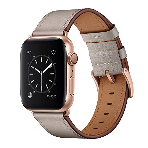 OUHENG Compatible with Apple Watch Band 38mm 40mm, Genuine Leather Band Replacement Strap Compatible with Apple Watch Series 4 Series 3 Series 2 Series 1 40mm 38mm Sport and Edition, Ivory White