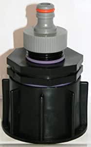 "'ame80_ 99caño adaptador S60x 6rosca gruesa con bicónica IG 1""+ Gardena–Conector con rosca IG 1, IBC de contenedor de accesorios de agua de lluvia tanque de doble adaptador de bidón"