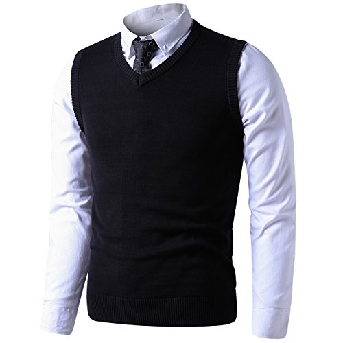 LTIFONE Mens Slim Fit V Neck Sweater Vest Basic Plain Short Sleeve Sweater Pullover Sleeveless Sweaters with Ribbing Edge(Black,L) by LTIFONE