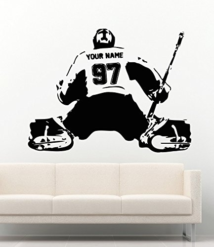 USA Decals4You | Sport Vinyl Wall Decals Hockey Goalie Jersey Personalized Custom Name Vinyl Decor Stickers Vinyl Murals MK0577