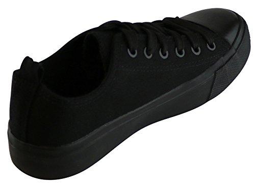 Cambridge Utvalda Womens Classic Stängd Mössa Tå Spets-up Duk Låg Topp Mode Sneaker Svart / Svart
