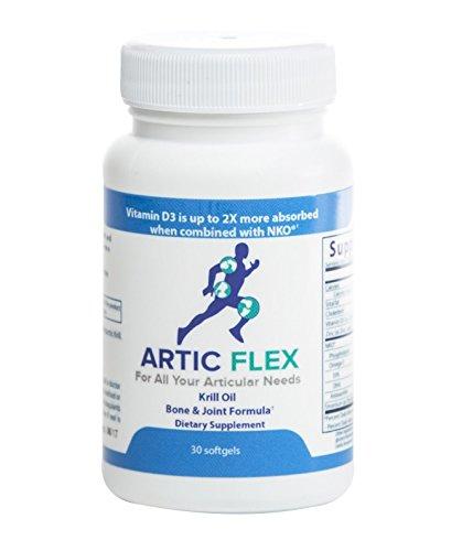 Artic Flex Krill Oil Bone & Joint Formula with Vitamin D3, Strontium, zinc, and The Super antioxidant astaxanthin, Softgels (1 Month Supply) by Artic Flex