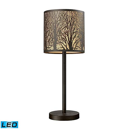 Dimond Lighting 31072/1-LED Woodland Sunrise - LED Table Lamp, Aged Bronze Finish with Amber Glass (Bronze Finish 8l Chandelier)
