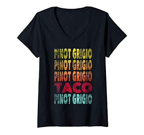 Womens Funny Vintage Style Pinot Grigio and Taco Lover V-Neck T-Shirt
