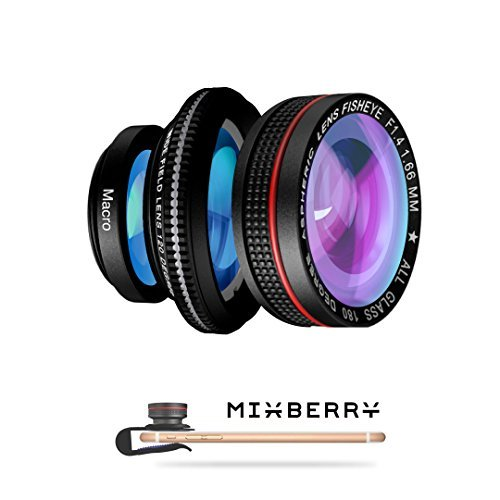 Miniatures Concert - Mixberry SELFIEMANIA 3 Camera Lens Kit - Includes Wide 120° Angle Lens + Macro 15x Zoom Lens + 180° Fisheye Lens - for Smartphones, Tablets, iPhone, iPad, Samsung Galaxy and Most Other Mobile Devices
