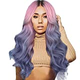 Women Long Curly Straight Wavy Synthetic Full Hair Wig Pink Purple Cosplay AfterSo (Purple)