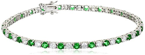 Sterling Silver Alternating Emerald and White Prong Set AAA Cubic Zirconia Tennis Bracelet, 7.5