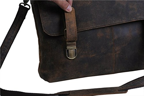 Leder Büffel Echtes Satchel Messenger Schulter Vintage Business College 15 Laptop Cross Body Bag Unisex Natürlich Braun aHcJm