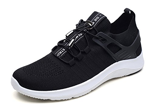 No.66 Town Men Fly-Woven Fabric Running Shoes,Flyknit Sneakers Black