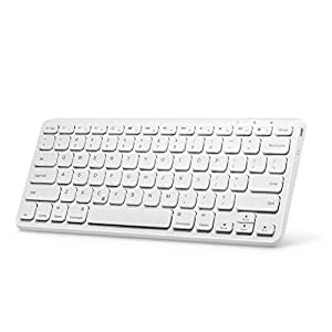 Universal Bluetooth Wireless Keyboard,Anker Ultra Compact Slim Profile Wireless Bluetooth Keyboard with Rechargeable Battery, Universal Compatibility with iPad and Computer - White