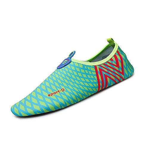 Humasol Men Womens Lightweight Quick-Dry Aqua Shoes Multifunctional Water Socks for Swim Beach Pool Check-Light blue