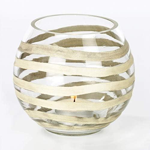 Lambert Paladino Windlicht Klarglas Silberauflage D11 H10