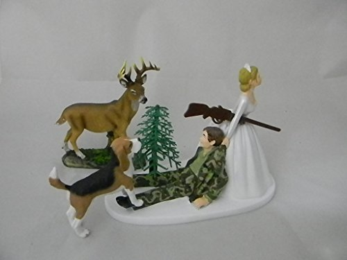 Wedding reception party Camo Deer Hunter Hunting Dog Cake Topper