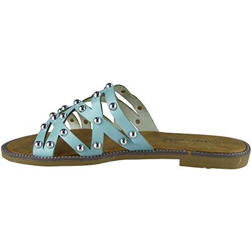 des Chaussures Femmes Cloutés 41 36 la Bleu LoudLook Flats sur Nouveaux Taille Comfy Summer Cloutés Glissent Pantoufles A7pqqxH0w