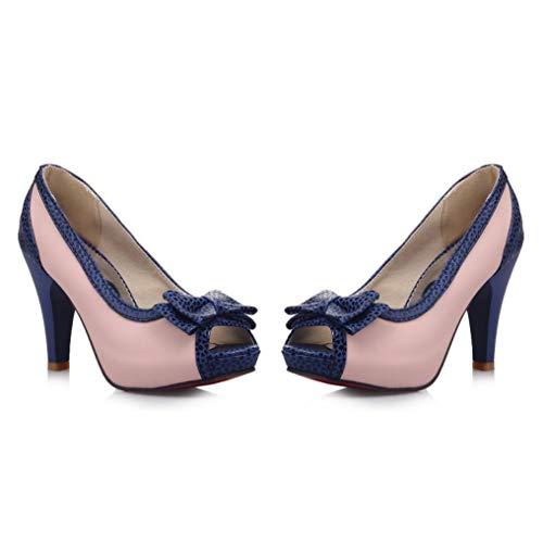 GanQuan2018 Women Platform Peep Toe Bowknot Pumps 3.54 Inch Thick High Heel Slip on Comfortable Breathable High Heels