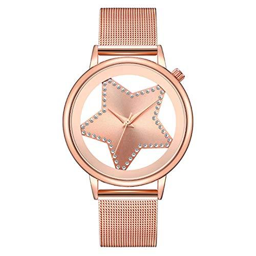 Quartz Watch Women Fashion Steel Star Rhinestone Hollow Analog Round Mujer Designer Wrist Watch S-Rose ()