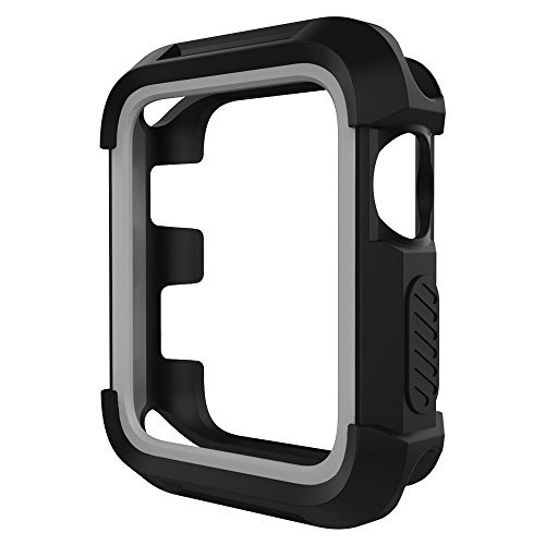 Price comparison product image UMTELE Rugged Apple Watch Case 42mm, Shock Proof Bumper Cover Scratch Resistant Protective Case for Apple Series 3, Series 2, Series 1 (Black/Grey)