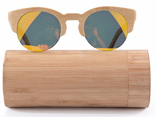 SHINU Bamboo Frame Sunglasses Semi-rimless Retro Round Eyeglasses-Z6017(bamboo - Men Eyeglasses Rimless For Round