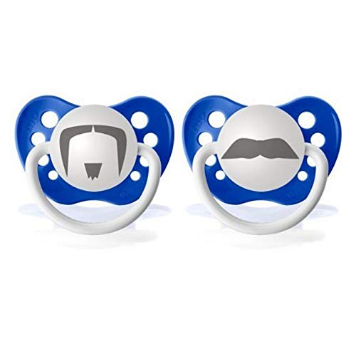 6-18 Months Momma/'s Boy and Mustache Ulubulu Expression Pacifier Set for Boys