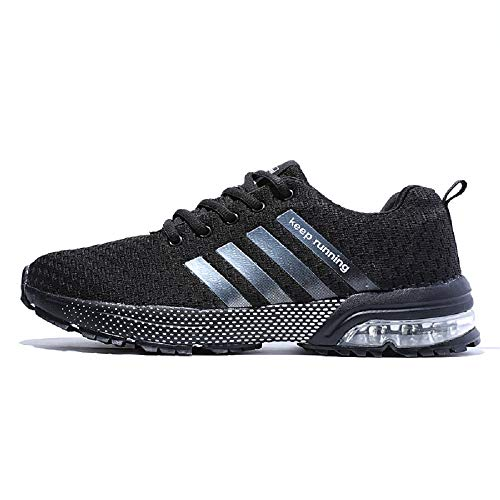 Ahico Men's Running Shoes - Air Cushion Fashion Breathable Lightweight Man Sneakers Cross Training Athletic Walking Shoe Mans Black Size 11