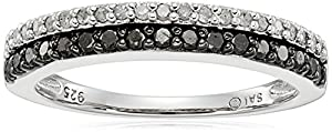 Sterling Silver Black and White Diamond Band Ring (3/8cttw), 7