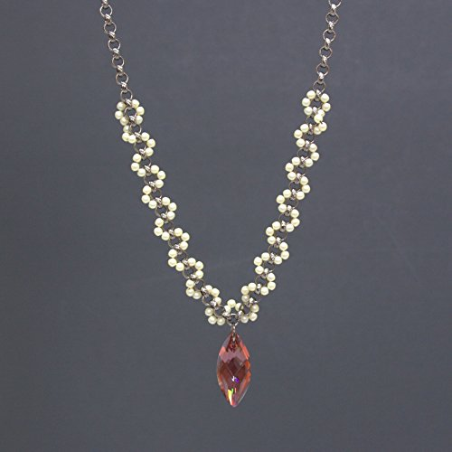 Marquise Pendant Necklace - Swarovski Red Magma Navette Crystal, Cream Glass Pearls, Rolo Chain, 1.25 & (Navette Glass)