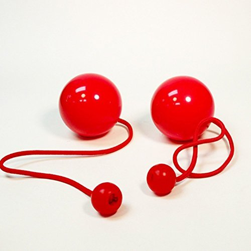 Play Pair of Contact GIGA Poi with 100mm Stage Ball -Red