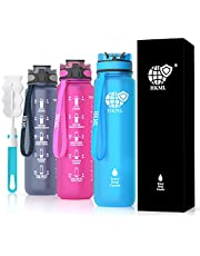 HKML Motivational Drinking Water Bottle (1Litre) & Cleaning Brush with Fruit Infuser - Leakproof, BPA Free Non-Toxic, Time Marked, Tracking Reminder, Light-Weight and Removable Strainer – Great for Fitness, Office, School, Gym, Sports and Outdoor Enthusiasts - Available in 3 Colours (Pink, Grey and Blue)