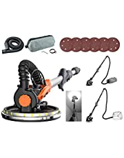 """Maxxt Drywall Sander, REAL Self-Vacuum System, LED Light, Telescopic handle, Variable Speed, 6.5A Motor, 6pcs 9"""" Sanding Discs, Dust bag. PLEASE TURN THE SUCTION ON BEFORE USE, OR YOU MIGHT GET LITTLE SELF-SUCTION!!"""