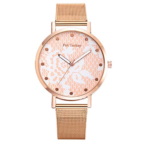 Women's Rose Gold Watch Floral Dial Analog Quartz Stainless Steel Mesh Magnetic Buckle Band (Orange)