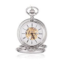 Sinopic Double Hunter Case Pocket Watch for Men with Vintage Gold Roman Numerals Skeleton Black Dial
