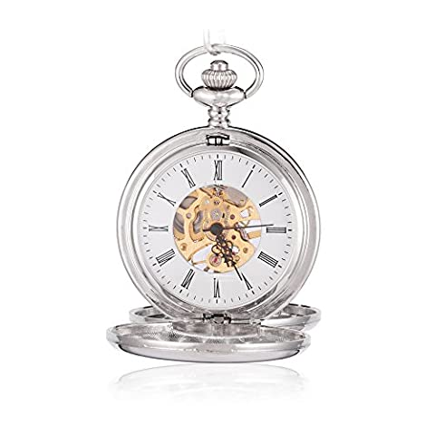 Sinopic Double Hunter Case Pocket Watch for Men with Vintage Gold Roman Numerals Skeleton Black (Mechanical Pocket Watch Engraved)