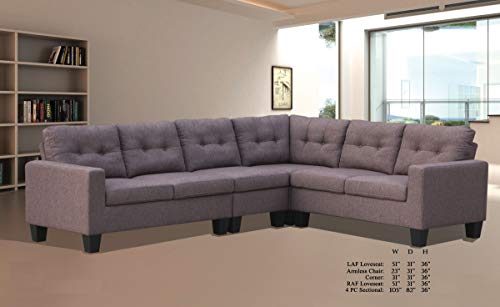 Fabric Corner Wedge Upholstered (Esofastore Living Room Furniture Formal Look Causal Modern Sectional Sofa Set Brown Linen Upholstered Cushion Loveseat Armless Chair Corner Wedge)
