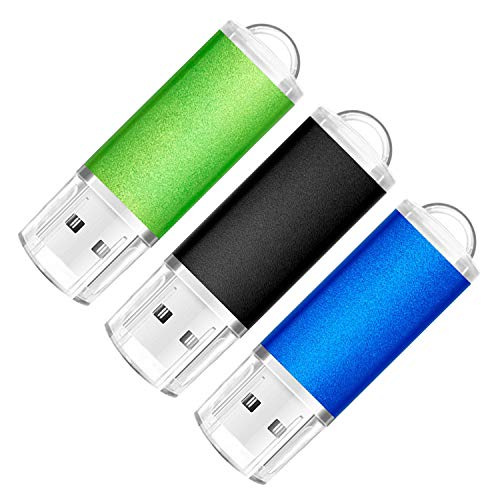 SumDuta 16GB USB 2.0 Flash Drive Thumb Drives Memory Stick, Black Blue Green 3 Pack