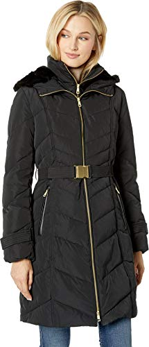 Cole Haan Women's Belted Zip Front Down Jacket with Faux Fur Removable Hood Black X-Small
