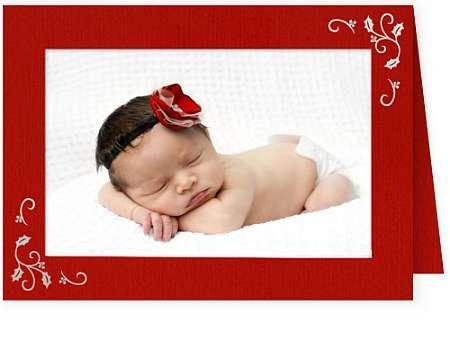 Christmas Cards Picture Insert (Embossed HOLLY CORNERS premium photo insert Holiday Card sold in 25s -)
