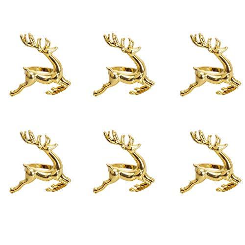 Vaselonsa Napkin Rings 6pcs Gold Elk Chic Wedding Receptions Christmas Thanksgiving And Home - Clear Victorian Turtle Crystal Silver Lemon Amor India Elegant Amistad Metal Pink Plastic B