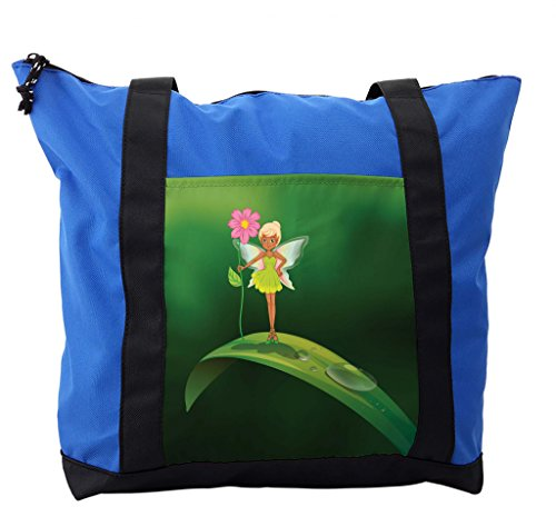Lunarable Kids Girls Shoulder Bag, Fairy Standing on a Leaf, Durable with Zipper by Lunarable