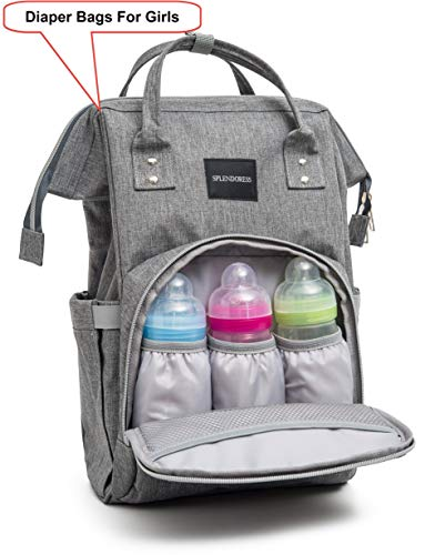 Diaper Bag for Dad Girls and Boys - Baby Backpack with Free Changing Pad - Waterproof Maternity Bag Organizer for Girls - Large Capacity Nappy Tote Stylish and Durable for Men and Women -Grey