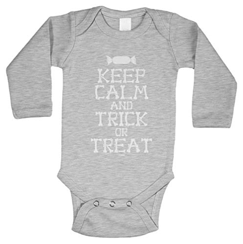 Keep Calm and Trick Or Treat - Halloween Long Sleeve Bodysuit (Light Gray, Newborn) ()