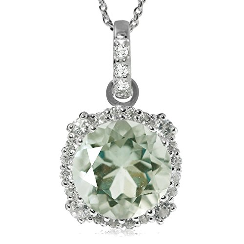 - 3.75ct. Natural Green Amethyst Gold Plated 925 Sterling Silver Pendant w/ 18 Inch Chain Necklace
