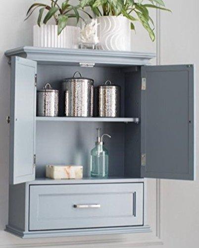 Bathroom Wall Cabinet Organizer - Double Door, Gray