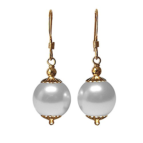 12mm White Swarovski Crystal Pearl Element 5810 14k Yellow Gold Filled GF Drop / Dangle Earrings Pair