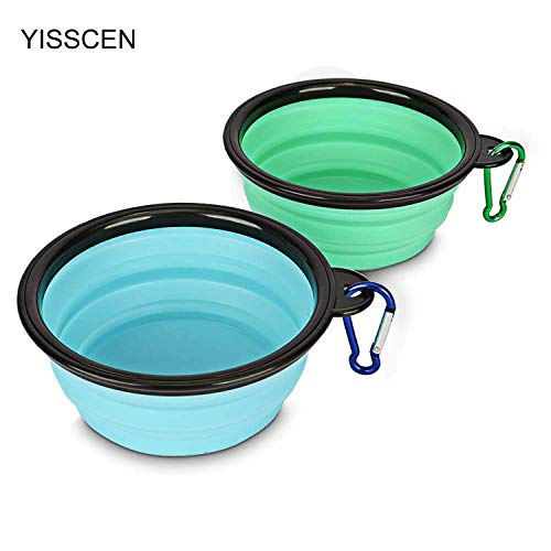 YISSCEN Collapsible Dog Bowl, Portable Travel Silicone Pet Food Water Bowl, Food Grade Silicone BPA Free (2 Pack)